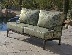 Sedona Love Seat Copper Vein Finish Merrit mint  Sunbrella cushions, High end Patio furniture, resort style, Sedona patio, Rob and Stucky , outdoor furniture, Paddy�o, Arizona,  Phoenix, Scottsdale, Fountain Hills, Paradise Valley, Commercial grade, today�s swim, az, todays, sundrella, azpatios, Iron, Custom