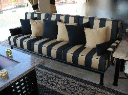 Sedona Sofa Black BK59 finish Regency Classic Sunbrella cushions with welt