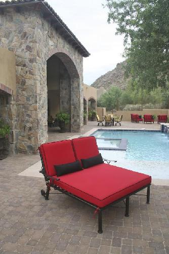 Sedona Double Chaise Lounge Copper Vein  finish Dash Crimson Sunbrella fabric,High end Patio furniture, resort style, Sedona patio, Rob and Stucky , outdoor furniture, Paddy�o, Arizona,  Phoenix, Scottsdale, Fountain Hills, Paradise Valley, Commercial grade, today�s swim, az, todays, sundrella, azpatios, Iron, Custom