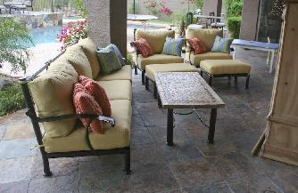 Sedona  Sofa Club Chairs and Ottomans Copper Vein  finish Dupione Cornsilk Sunbrella Cushions, High end Patio furniture, resort style, Sedona patio, Rob and Stucky , outdoor furniture, Paddy�o, Arizona,  Phoenix, Scottsdale, Fountain Hills, Paradise Valley, Commercial grade, today�s swim, az, todays, sundrella, azpatios, Iron, Custom