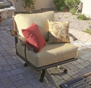Sedona Swivel Rock Club chair Custom BR47 and Clear finish Dupione Bamboo Sunbrella fabric cushiions, High end Patio furniture, resort style, Sedona patio, Rob and Stucky , outdoor furniture, Paddy�o, Arizona,  Phoenix, Scottsdale, Fountain Hills, Paradise Valley, Commercial grade, today�s swim, az, todays, sundrella, azpatios, Iron, Custom