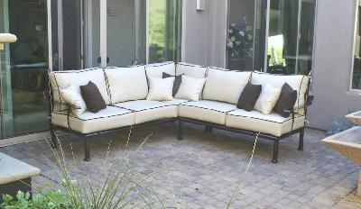 Sedona Custom Sectional Copper Vein finish Sunbrella  fabric cushions, High end Patio furniture, resort style, Sedona patio, Rob and Stucky , outdoor furniture, Paddy�o, Arizona,  Phoenix, Scottsdale, Fountain Hills, Paradise Valley, Commercial grade, today�s swim, az, todays, sundrella, azpatios, Iron, Custom